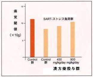 実験動物の足先の痛みに対する漢方薬の効果(棒グラフ)