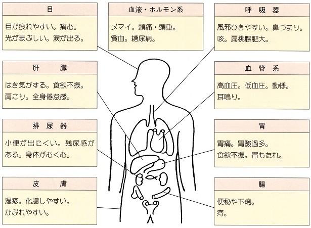 虚弱体質、雑病体質、自律神経失調の人に出やすい症状
